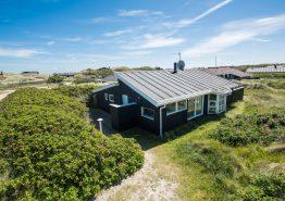 Holzhaus mit geschlossener Terrasse und Blick auf die Dünen