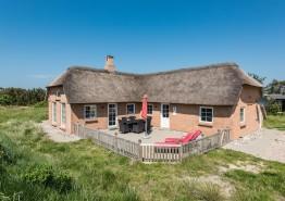 Sommerhus med stråtag og lukket terrasse – hund tilladt. Kat. nr.:  H5965, Milevej 5;