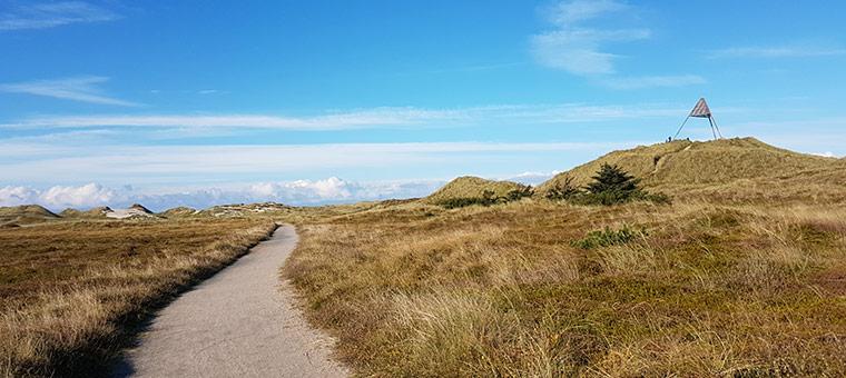 Radweg in den Dünen bei Haurvig Strand
