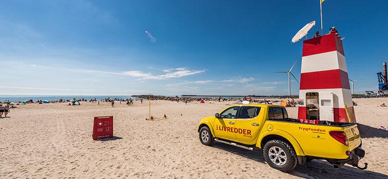 Trygfondesn livreddere er til stede på udvalgte strande - her i Hvide Sande på sydstranden